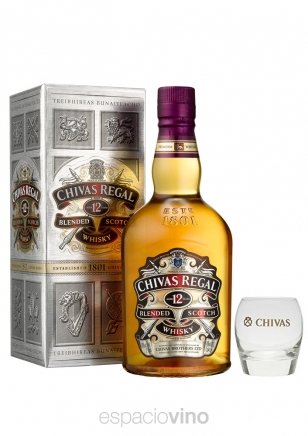 Chivas Regal 12 Años Whisky 750 ml + 1 Vaso